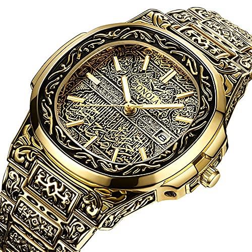 Reloj de pulsera de cuarzo para hombre, diseño retro con tatuaje tallado, correa de acero inoxidable, resistente al agua