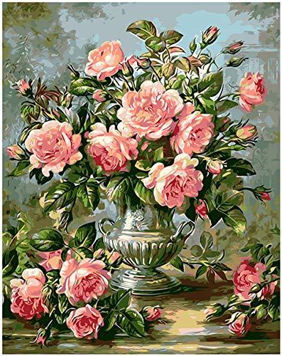 Home Decor Canvas Coloring Schilderen op nummer-Groene poeder shake zwarte thee bloem 16