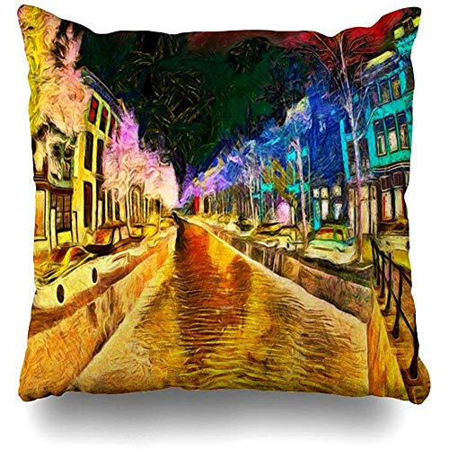 KerClara-weiwin-pillowcases Throw Pillow Cover Gogh Amsterdam Canal Dreamy Night Psychedelic Dark Painting LSD Van Trip Brick Bridge Car Home Decor Cushion Case