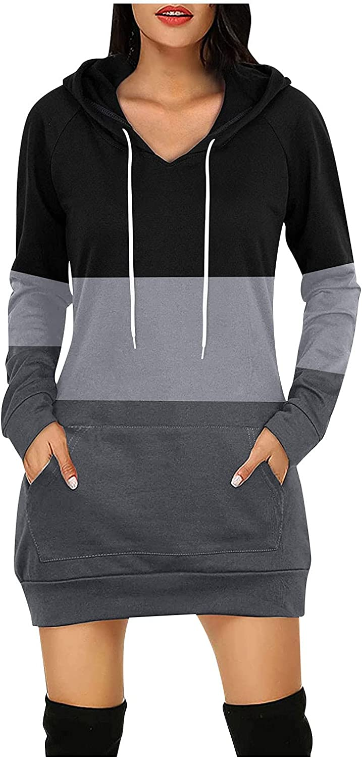 Women's Shirt Dress Long Sleeve Fall Winter Hooded Solid Color Soft Medium Sweatshirt Top with Pockets Pullover