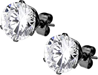 CZ Simulated Diamond Black IP Plated Surgical Steel Stud Earrings for Men
