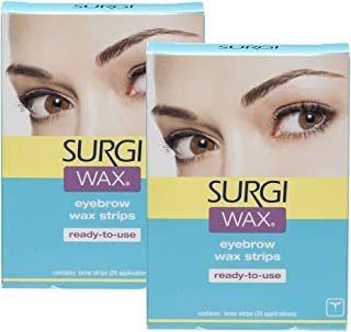Surgi Wax Eyebrow Ready To Use Wax Strips 28 Strips, 2 Pack