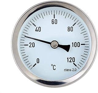 Xinjieda Wasserdichtes 0 120 ° C Aluminium Warmwasserrohr Thermometer Rohr Warmwasser Heizungs 63mm Dial Templehre