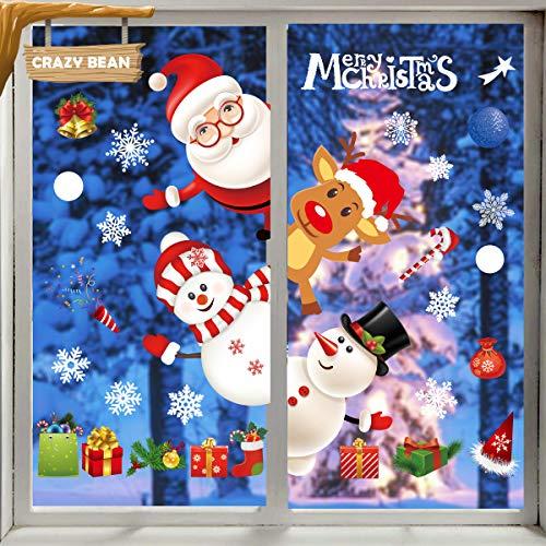 crazy bean Pegatinas Reutilizables de la Ventana de la Pared de la Feliz Navidad Cubierta de la Puerta del Reno de...