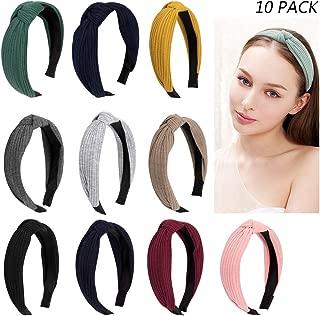 Jaciya 10 Pieces Knotted Headbands for Women Turban Headbands for Women Wide Headbands for Women Knot Headband 10 Colors Diademas para Mujer Headband for Women Turban Headband Knot Headband for Women