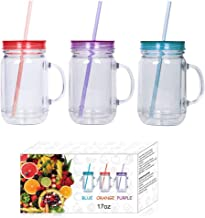Plastic Mason Jars with Handles, Lids and Straws | 17 oz Double Insulated Tumbler with Straw | Set of 3 | Wide Mouth Mason...