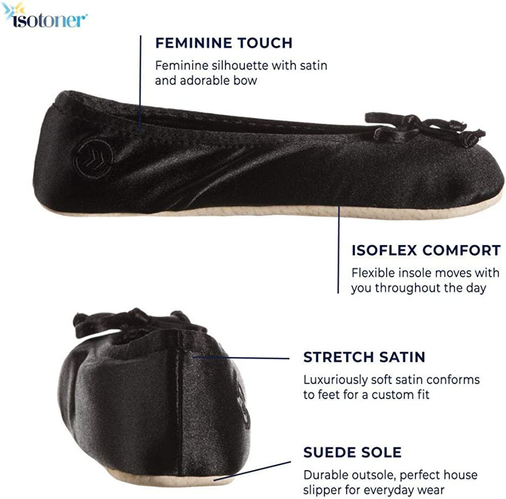 isotoner Womens Satin Ballerina Slipper with Bow Suede Sole
