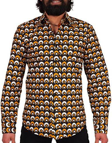 Chenaski Camisa de los años 70, color negro y amarillo