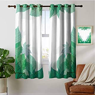 PRUNUSHOME Tropic Green Leaves Ferns Kitchen Curtains, Thermal Insulated Window Treatments Blackout Curtain Panels (Set of 2 Panels,42 by 90 Inch)