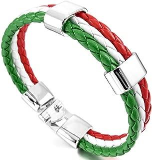 INBLUE Men,Women's Alloy Leather Bracelet Bangle Cuff Germany Spain Italian French Brazil Flag