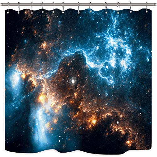 Riyidecor Galaxie Planet Duschvorhang Nebel Nacht Sternenhimmel Universum Weltraum Fantasie Stern Stoff Wasserdicht Home Badewanne Dekor 12er Pack Kunststoff Haken 182,9 x 182,9 cm