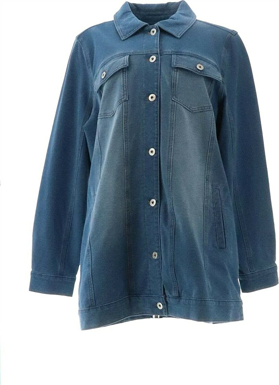 Denim& Co Comfy Knit Long Jean Jacket Antique Wash L New A367987
