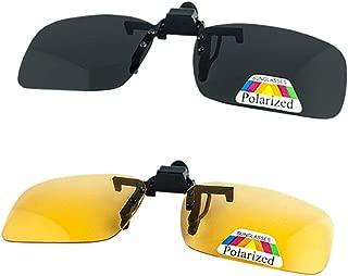 Sunglasses Clip on Flip Up Polarized Lens,Unisex Sunglasses Frameless Rectangle Lens Clip on Prescription Sunglasses Eyeglass Filter Strong Light for Myopia Glasse/Outdoor/Driving 2-Pack
