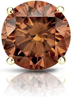 18k Gold 4-Prong Basket Round Brown Diamond SINGLE STUD Earring (1/8-1 ct, Brown, SI1-SI2) Screw-Back