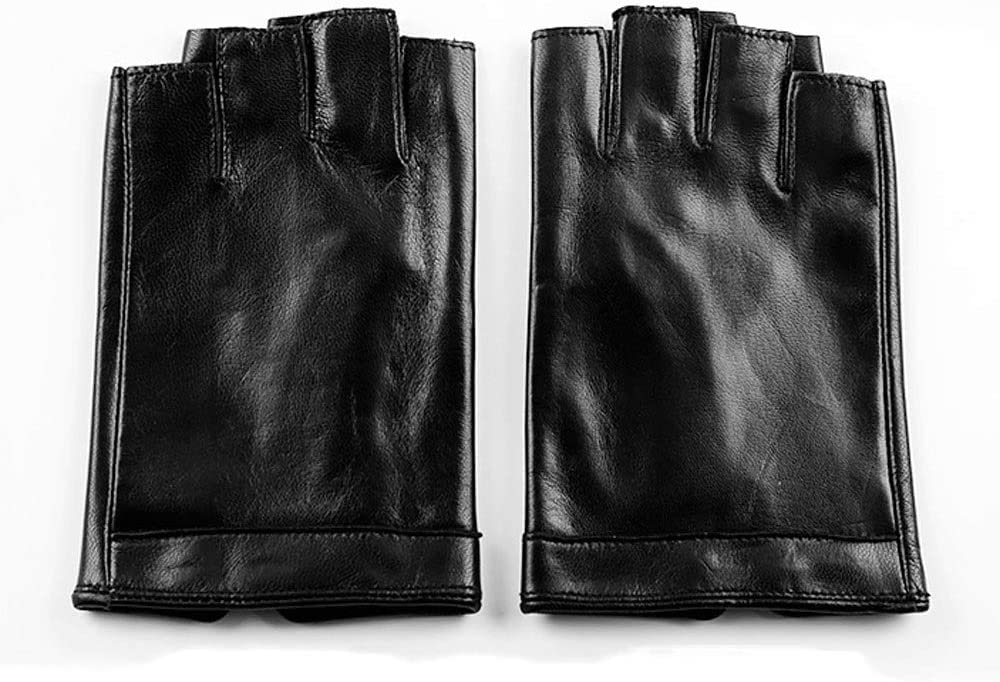 Swftc Genuine Leather Half Finger Brown Black Gloves Men Summer Breathable Driving Semi-Finger Sheepskin Glove Non-Slip Fitness Mitten Fingerless Locomotive Single-Layer Leather Half-Finger Gloves