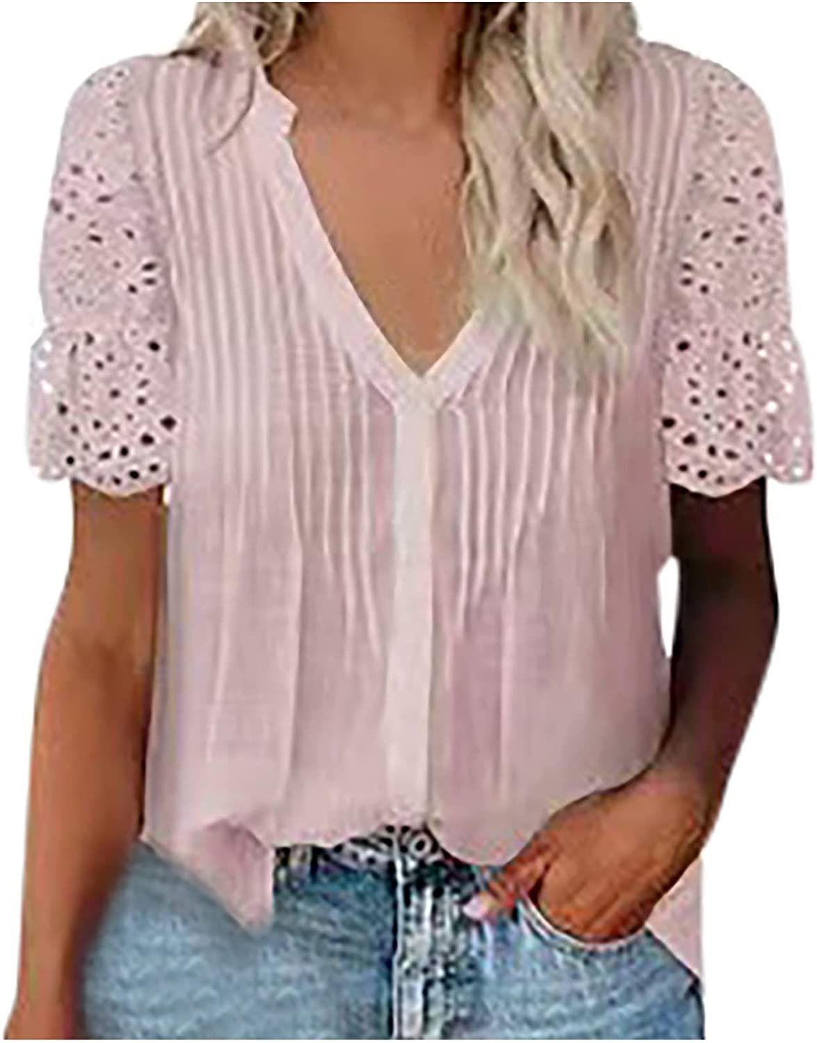 Women Tops Lace Crochet Eyelet T Shirts V-Neck Solid Color Short Sleeve Summer Fashion Comfy Blouses
