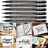 Kalligraphie Stifte 6er Set,4 Größen,2 Nachfüllbare Tinte, Schwarze Fasermaler Pinsel Stift für Schriftzug Anfänger Tagebuch Unterschrift Beschriftung Design und Zeichnung