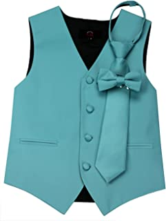 Brand Q Boy's Tuxedo Vest, Zipper Tie & Bow-Tie Set in Teal