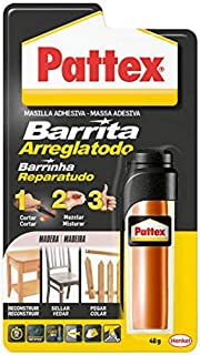 Pattex Barrita Arreglatodo Masilla bicomponente especial madera, pasta moldeable para pegar y reparar, resina epoxi barnizable y lijable para varias maderas, tubo 48 g