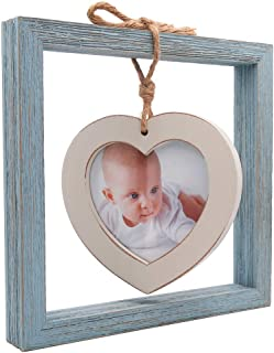 8x8 Size Creative Picture Frame, Displayed 4x4 Heart Photo on Desktop (Wood, Distressed Painted Blue/White)