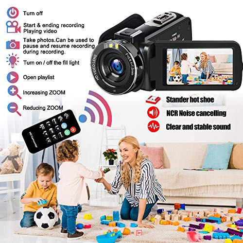 """Video Camera Camcorder DIWUER 2020 Upgraded FHD 1080P 30MP Vlogging Camera For YouTube 18X Digital Zoom 3.0"""" LCD 270 Degree Flip Screen With 2 Batteries"""