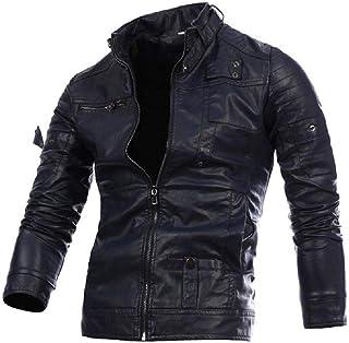 Giacca da uomo in pelle, pelle moto, cerniera, taglia grande, moda e sottile in pelle