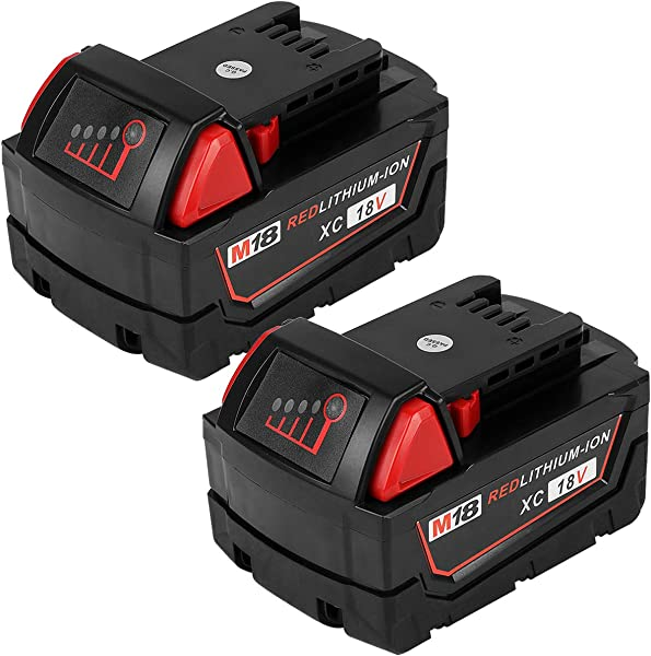 ROALLY 2 Pack 6 0Ah High Capacity Replace For Milwaukee M18 Battery 48 11 1815 48 11 1820 48 11 1828 48 11 1850 Cordless Power Tools
