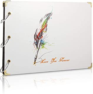 Scrapbook Album Photo Livre d'or de Mariage Souvenirs Bricolage avec 60 Pages Noires Cadeau pour Saint-Valentin Anniversai...