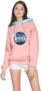 Womens Color Block NASA Logo Print Drawstring Hoodie Sweatshirt
