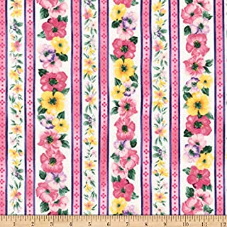 Robert Kaufman Woodside Blossom Flowers Stripes Fabric, Spring, Fabric By The Yard