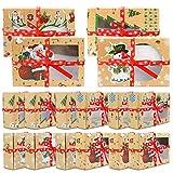 Scatole per biscotti di Natale, scatole regalo fai da te per torte e dolci, con finestra trasparente, 12 scatole per regali di Natale per feste di Natale, cupcake