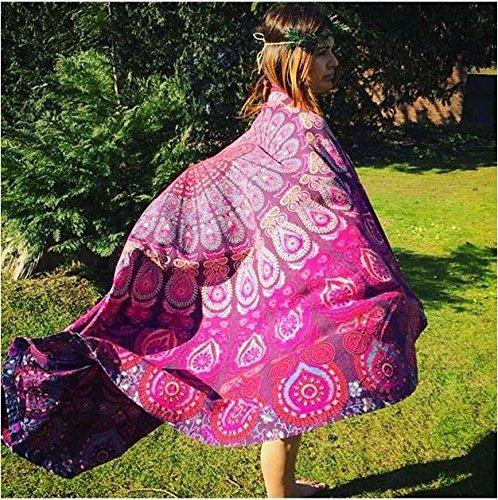Handicrunch Indian Mandala Round Roundie Beach Throw Tapestry Hippy Boho Gypsy Cotton Tablecloth Beach Towel Model: round 2 (Home & Kitchen)