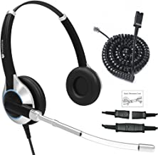 Deluxe Double Ear Headset with Noise Reduction Voice Tube and Adapter Compatible with Yealink T19 T20 T21 T22 T23 T26 T27 T28 T29 T32 T36 T38 T40 T41 T42 T46 T48 T52 T54, Snom and Grandstream Phones