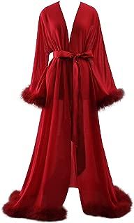 Women Sexy Feather Long Wedding Scarf Illusion Nightgown Robe Perspective Sheer Bathrobe Sleepwear