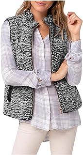 iPOGP Women Vest Reversible Fall Coat Full Zip Jacket Fuzzy Fleece Lightweight Outerwear