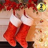 WXJ13 2 Pack 18 Inch Large Linter Christmas Stockings Chrismas Tree Stockings Fireplace Decorations Christmas Decorations