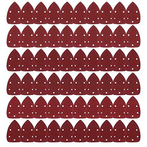 Dischi Abrasivi Carta vetrata 60 Pcs, Levigatura Carte Abrasive Per Mouse Levigatrice Smerigliatura Fogli Abrasivi 40, 60, 80, 100, 120, 150, 180, 240, 320, 400 per Levigatura/Lucidatura/Spolveratura