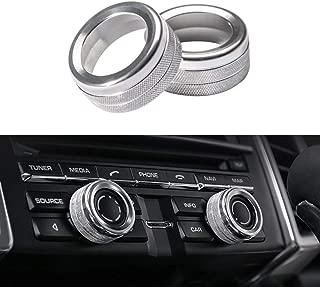 Thor-Ind Aluminum Centre Console Sound Volume Knob Cover for Porsche Panamera Cayenne Macan Boxster Cayman 911 718 Car Interior Multimedia Volume Knob Decorative Ring Cover Trim (Volume Knob-Silver)