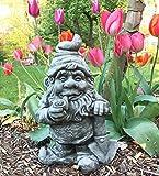 Antikas - Lustiger Zwerg - Pfeife rauchender Gartenzwerg - Gnome Gartenfiguren Zwerge