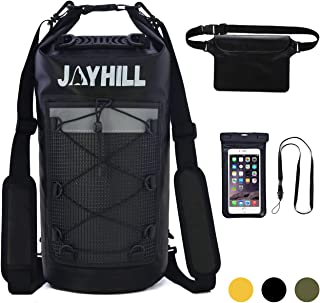 JOYHILL Waterproof Dry Bag Set of 3 with Backpack Straps and Front Mesh Pocket, 20L 30 Liter Floating Dry Backpack for Water Sports, Fishing, Boating, Kayaking, Surfing, Rafting Floating