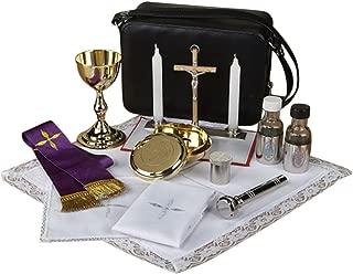 Deluxe Catholic Travel Mass Kit with Sprinkler in Zippered Vinyl Case, 8 1/2 Inch