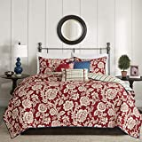 Madison Park Lucy King/Cal King Size Quilt Bedding Set - Red, Navy , Reversible Floral, Stripes – 6 Piece Bedding Quilt Coverlets – Cotton Twill, Cotton Poly Blend Reverse Bed Quilts Quilted Coverlet