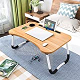 Laptop Table Foldable Portable Notebook Table Lap Desk Tray Stand, Reading Holder with Coffee Cup Slot for Breakfast, Reading & Movie Watching Multifunction Study Table