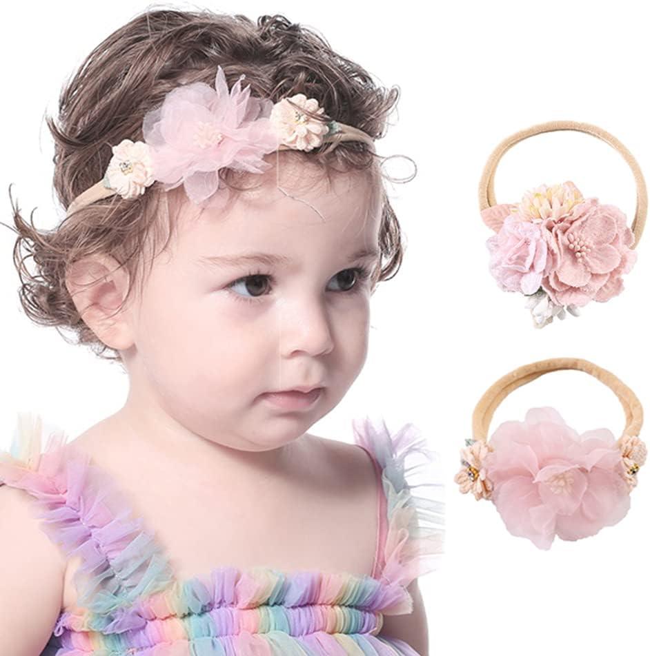 Wiwpar Flower Crown Headband Gauze Flower Headwear Set Elastic Adjustable Head Piece Girl's Hairbands 2Pcs for Toddler and Childrens (Color 3)