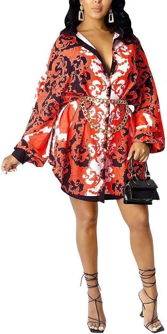 Sexy Mini Shirt Dress for Women - Casual Button Down Blouse Long Sleeve V Neck Shirts Blouse Top Short Dress
