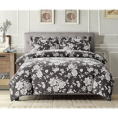 Wake In Cloud - Gray Floral Duvet Cover Set, White Vintage Flowers Pattern Printed on Grey, Soft Microfiber Bedding with Zipper Closure (3pcs, King Size)