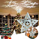 Qaxlry Christmas Tree Star Topper, 3D Star Christmas Tree Top with Led Rotating Snowstorm Projection,for Christmas Tree Decoration(Silver)