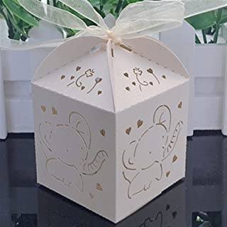 Gift Box 50pcs Beautiful Baby Elephant Laser Cut Candy Box Gift Box Baby Shower Souvenir Kids Party Favors Happy Birthday ...
