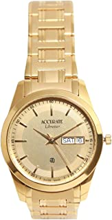 Casual Watch for Men by Accurate, Gold, Round, AMQ1644