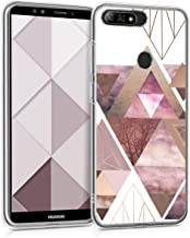kwmobile Case for Huawei Y7 (2018)/Y7 Prime (2018) - TPU Silicone Crystal Clear Back Case Protective Cover IMD Design - Light Pink/Rose Gold/White